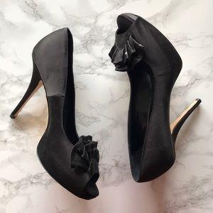 Kate Spade Black Satin Open Toe Platform Heels